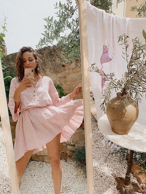 Robe Deby 100% lin rose