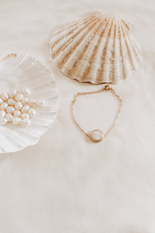 Bracelet acier marbre blanc