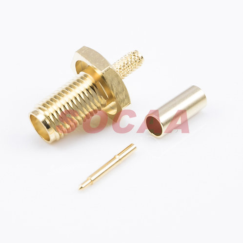SMA JACK REVERES BULKHEAD CRIMP FOR RG-174U CABLE