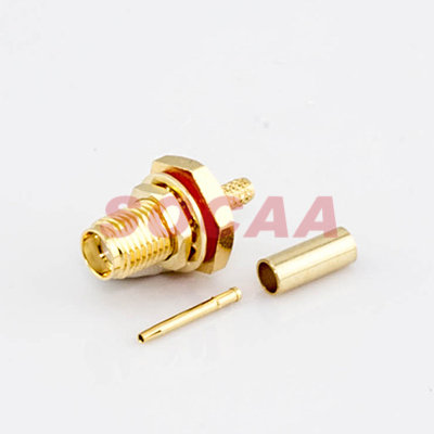 SMA JACK BULKHEAD CRIMP FOR RG-174U CABLE