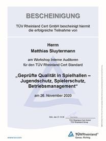 Teilnahmebescheinigung - Matthias Sluyte