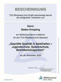 Teilnahmebescheinigung - Stefan Knüpling