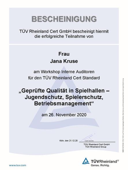 Teilnahmebescheinigung - Jana Kruse_Seit
