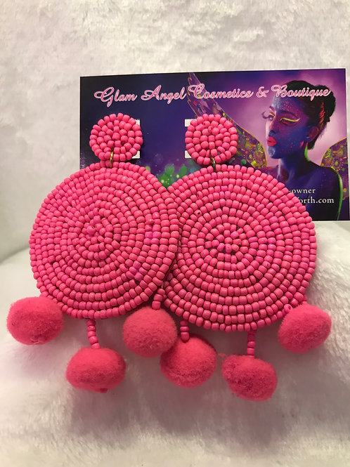 Hot Pink Beaded and Pom Pom Earrings