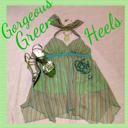 Green Metallic High Heels