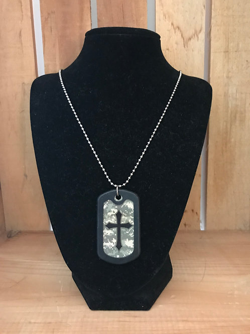 Men's Camo Dog Tag Cross Necklace