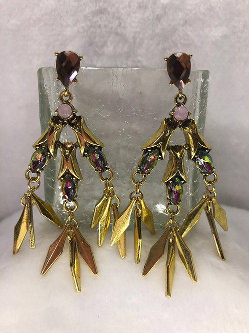 Gold tone and Mystic Crystal Earrings