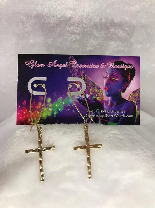 Gold Cross Dangle Earrings