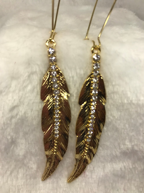 Gold and Crystal Leaf Earring