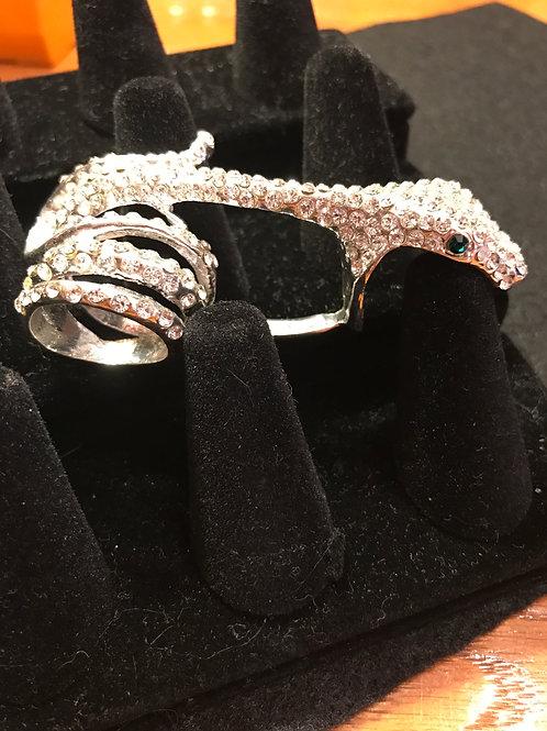 Crystal Double Finger Snake Ring