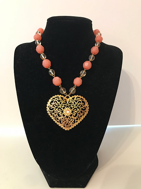 Heart & Glass Bead Necklace