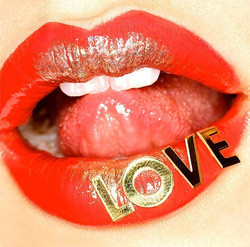 Coral & Gold Love Lips