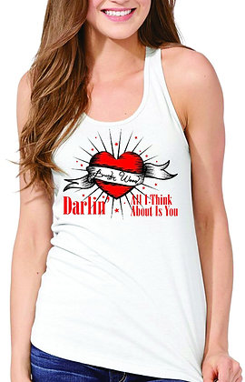 Womens Heart  Tank Top White