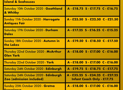 🚌 OCTOBER DAY TRIPS!! 😲