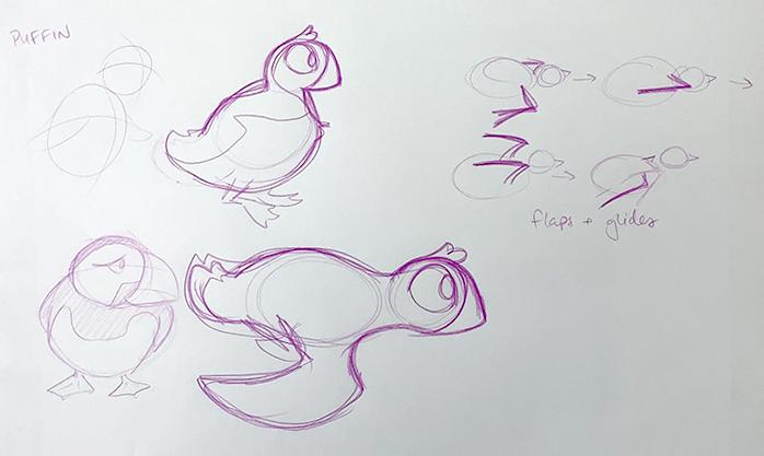 Rough puffin designs