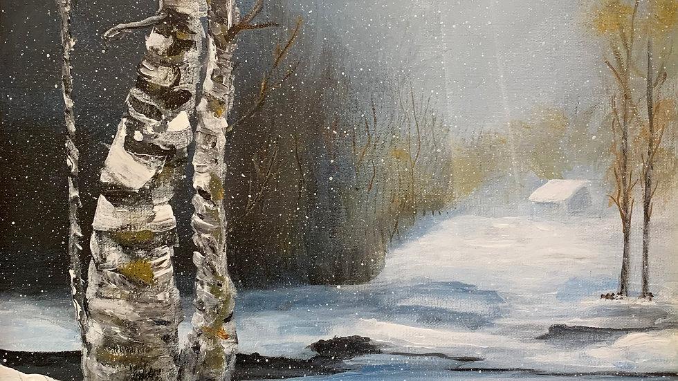 Birch on Frozen Pond