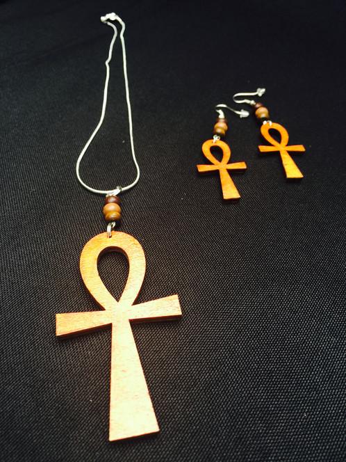 Ankh pendant set african caribbean inspired jewellery venus meaning ancient egyptian symbol key of life colours mahogany dark oak ankh wooden pendant aloadofball Images