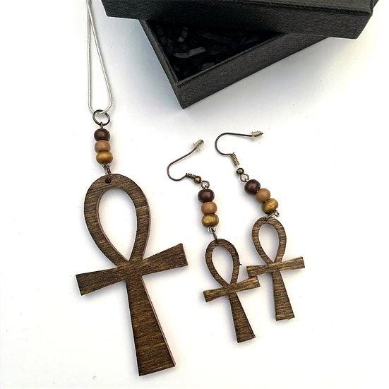 Dark Oak Ankh Chain & Earrings Set