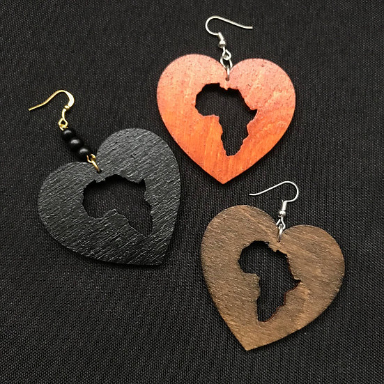 Africa heart earrings - www.venusisland.co.uk