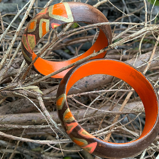 wood & orange bangle - www.venusisland.co.uk
