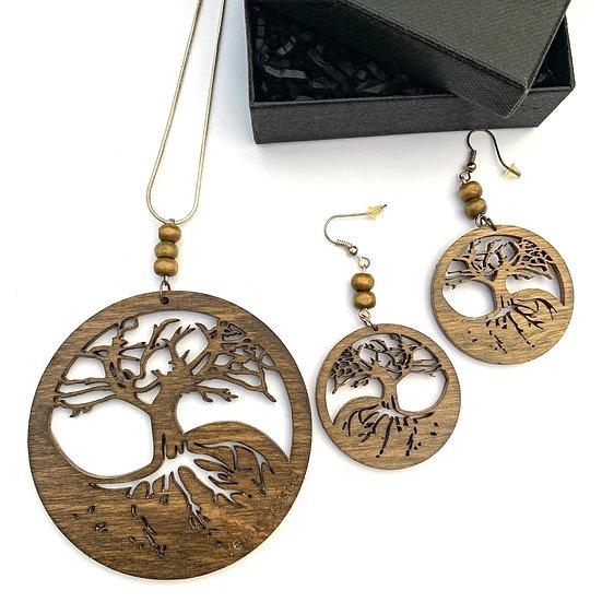 Dark Oak Tree of Life Chain & Earrings Set