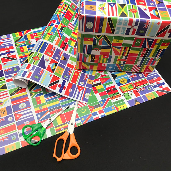 African and Caribbean flag wrapping paper - www.venusisland.co.uk