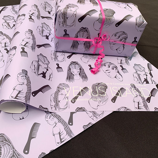 Black girl braids Wrapping paper  - www.venusisland.co.uk
