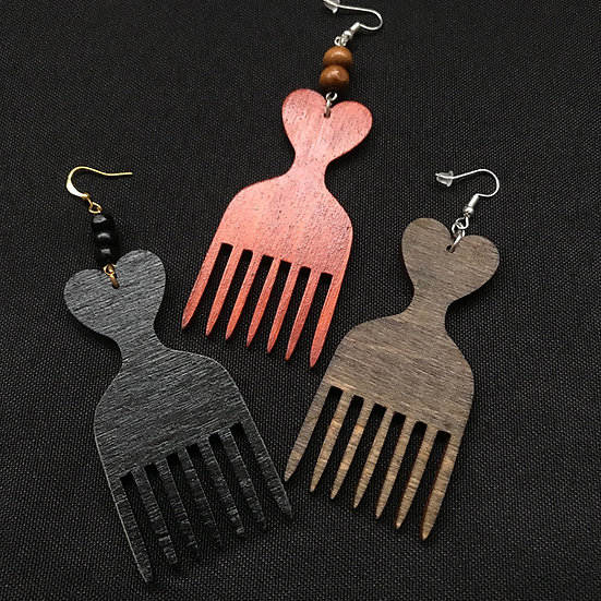 Afro comb earrings - www.venusisland.co.uk