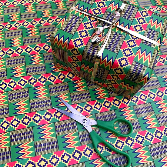 Green African Kente Print Wrapping Paper - Gift Wrap