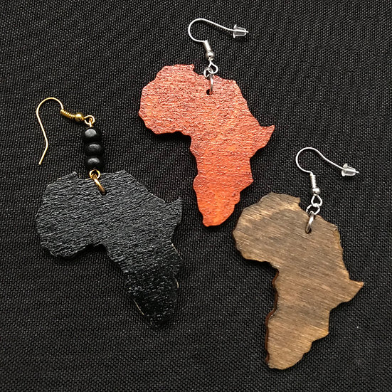 Africa map earrings - www.venusisland.co.uk