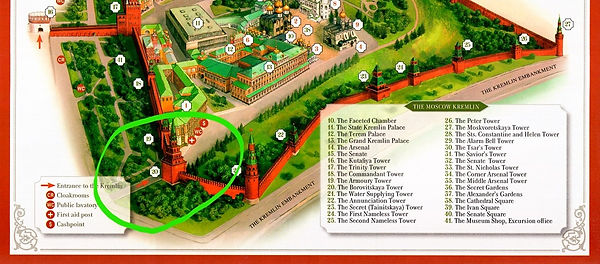 Map of the Moscow Kremlin with exits 01
