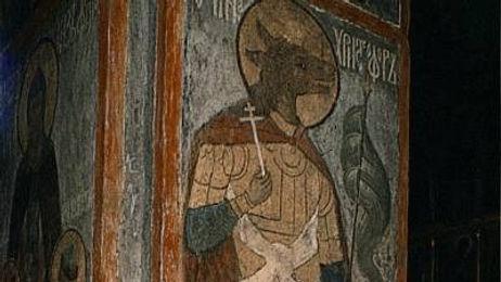 Mural of Saint Christopher in Archangel