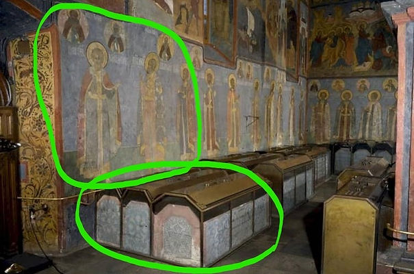 Tombs inside Archangel Cathedral in Mosc