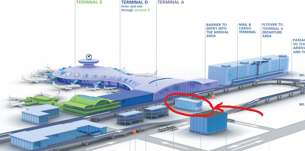 The location of the Aeroexpress train platform in Vnukovo International Airport Map