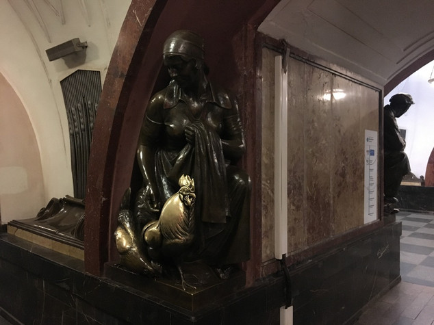 Farmer woman statue on Ploschad' Revolut
