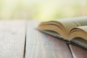 An open book on a rustic wooden table wi
