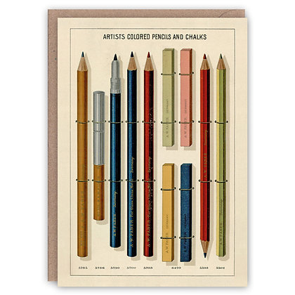 Greetings Card - Artists Coloured Pencils and chalks