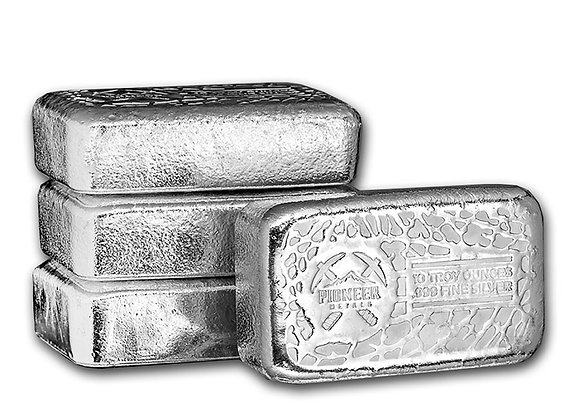 10 oz Silver Bar - Pioneer Metals .999 Fine Silver Cast Bar