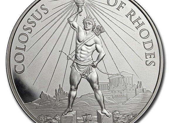 1 oz Silver - 7 Wonders of the Ancient World (Colossus of Rhodes) With Tin Box