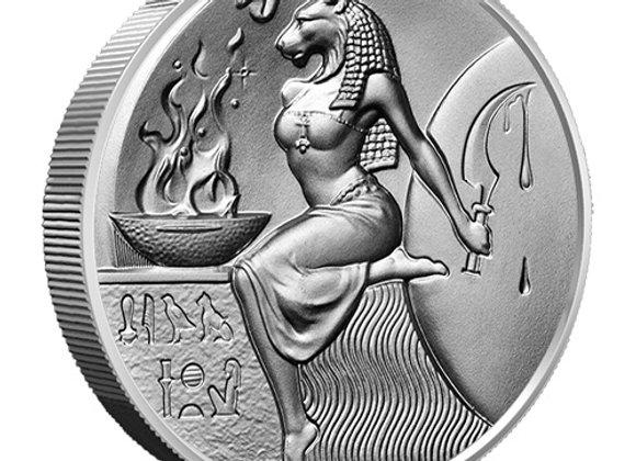 2 oz Silver Antique Egyptian Gods Sekhmet Round Ultra High Relief