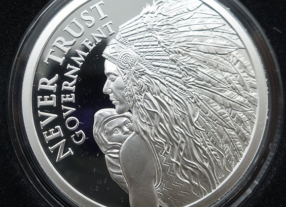 2021 Silver Shield NEVER TRUST GOVERNMENT v2 - 1oz .999 Silver Proof Medallion