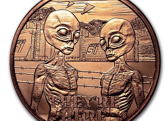"1 oz Copper Round - Area 51 ""They're Here"""