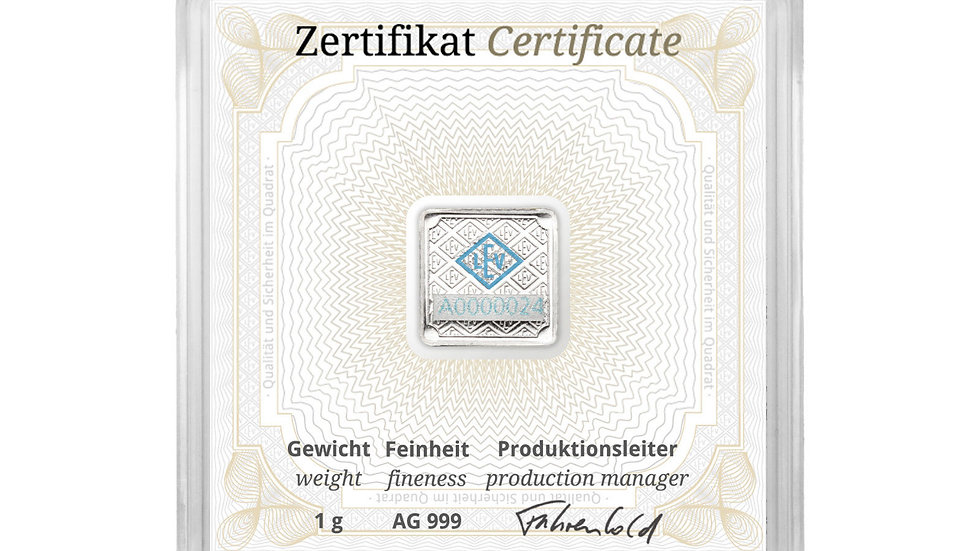 Geiger 1 gram Silver Square Bars - Encapsulated w/ Assay