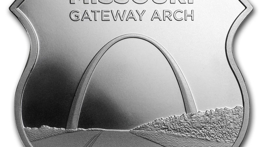 1 oz Silver - Icons of Route 66 Shield Missouri Gateway Arch