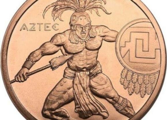 Spartan 1 oz Copper Round   Warrior Series Aztec Silver 1 oz