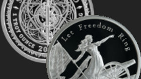 2020 1oz LET FREEDOM RING .999 PROOF MINI MINTAGE SILVER SHIELD Box/COA
