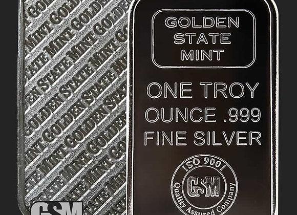 Silver Bar 1 oz .999 Fine Golden State Mint