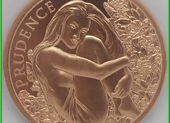 2019 1oz Prudence Shield Copper BU Cardinal Virtue Series #3 Prudence