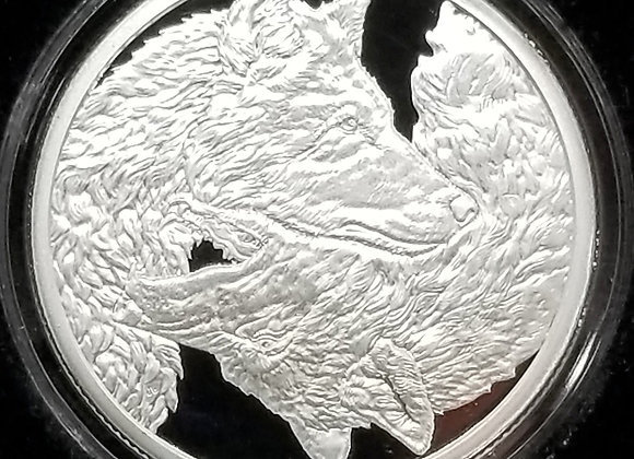 Silver Shield Two Wolves 1oz Proof 2020 .999 Silver Round MiniMintage Rare