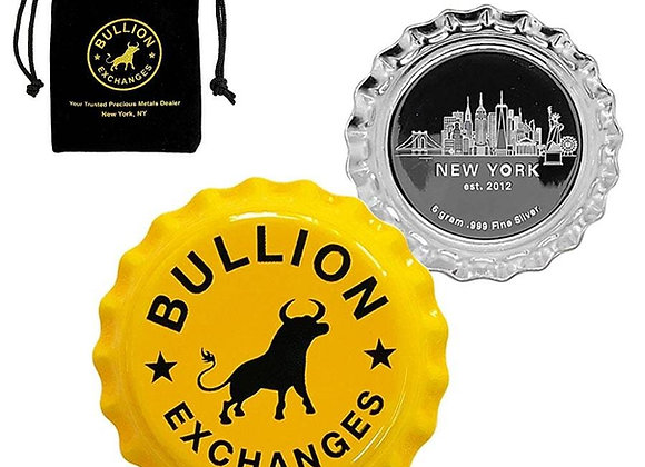 6 gram Bullion Exchanges New York Skyline - Yellow .999 Fine Silver Bottle Cap